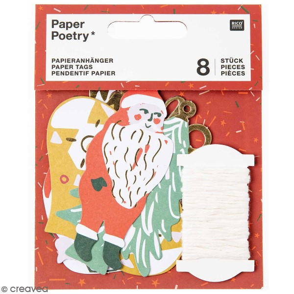 Pendentifs en papier Nostalgic Christmas - Noël classique - de 4 à 8 cm - 8 pcs - Photo n°1