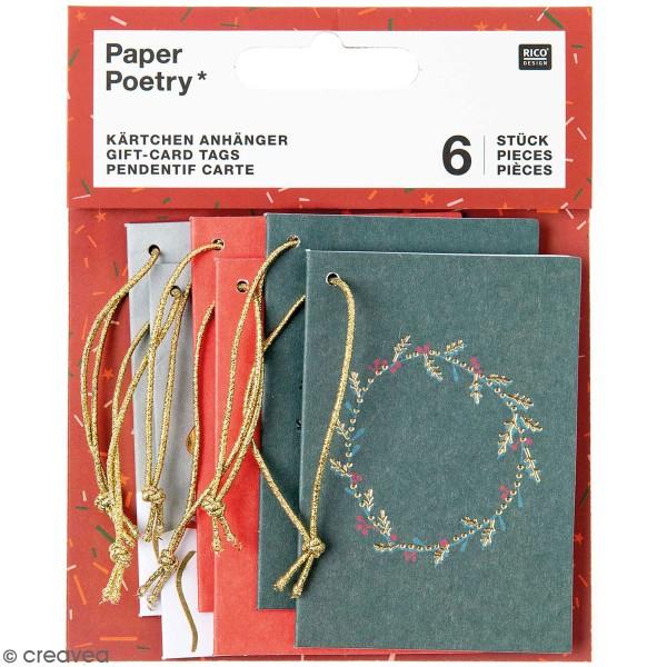 Pendentifs cartes Nostalgic Christmas - Noël classique - 5,2 x 7,5 cm - 6 pcs - Photo n°1