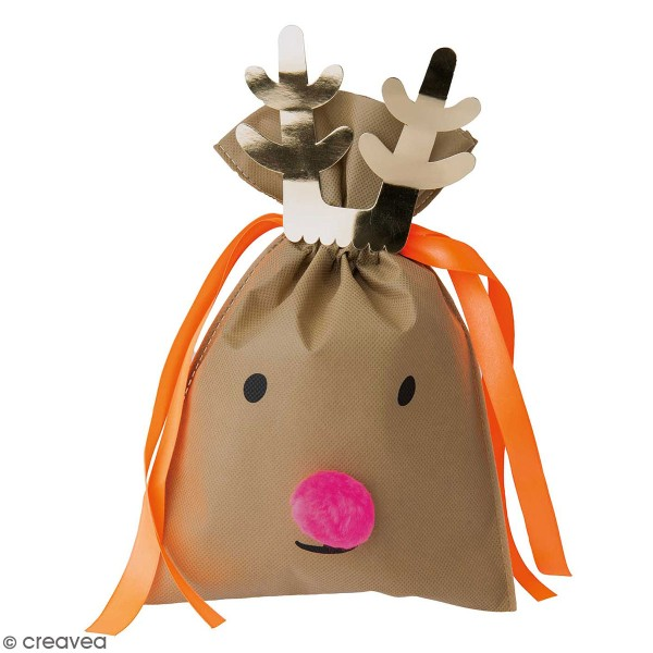 Petit Sac Cadeau en tissu Beige - Renne - 20 x 30 cm - Photo n°1