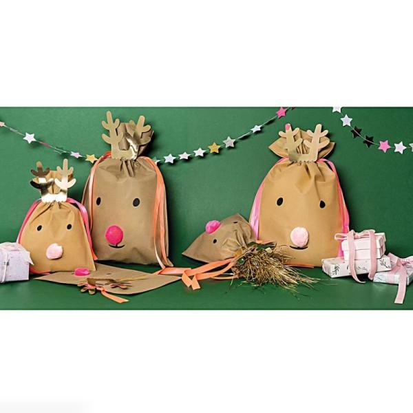 Grand Sac Cadeau en tissu Brun clair - Renne - 30 x 45 cm - Photo n°2