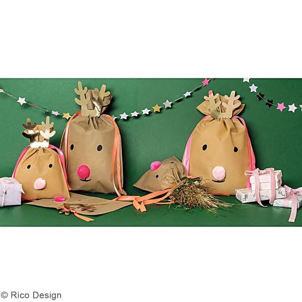 Petit Sac Cadeau en tissu Brun clair - Renne - 20 x 30 cm - Photo n°2