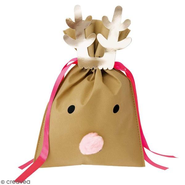 Petit Sac Cadeau en tissu Brun clair - Renne - 20 x 30 cm - Photo n°1