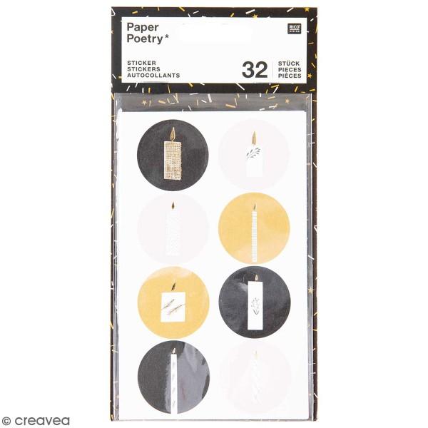 Stickers ronds en papier Noël - Noir - 32 pcs - Photo n°1