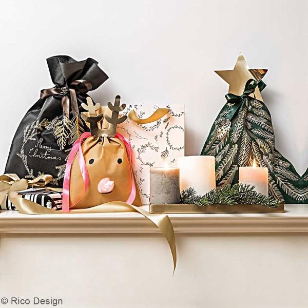 Grand Sac Cadeau en tissu Merry Christmas - Noir - 30 x 45 cm - Photo n°2