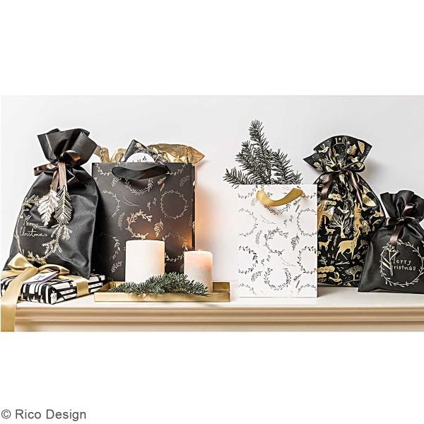 Grand Sac Cadeau en tissu Merry Christmas - Noir - 30 x 45 cm - Photo n°3