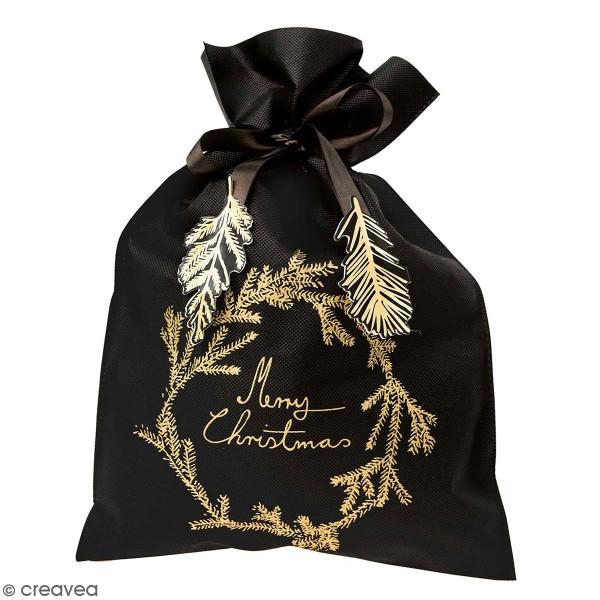 Grand Sac Cadeau en tissu Merry Christmas - Noir - 30 x 45 cm - Photo n°1