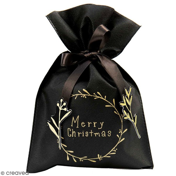 Petit Sac Cadeau en tissu Merry Christmas - Noir - 20 x 30 cm - Photo n°1