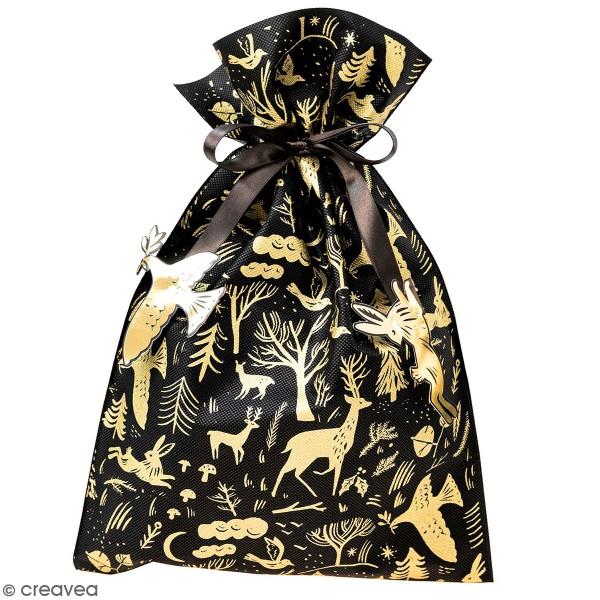 Grand Sac Cadeau en tissu Forêt - Noir - 30 x 45 cm - Photo n°1