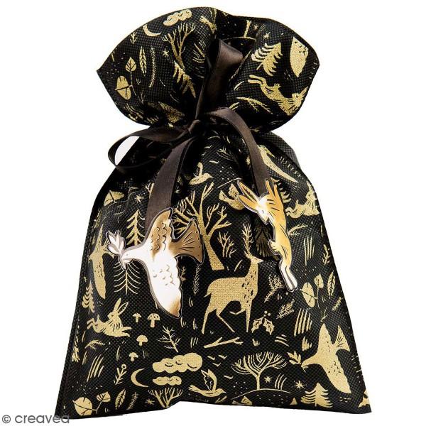 Petit Sac Cadeau en tissu Noir - Hiver - 20 x 30 cm - Photo n°1
