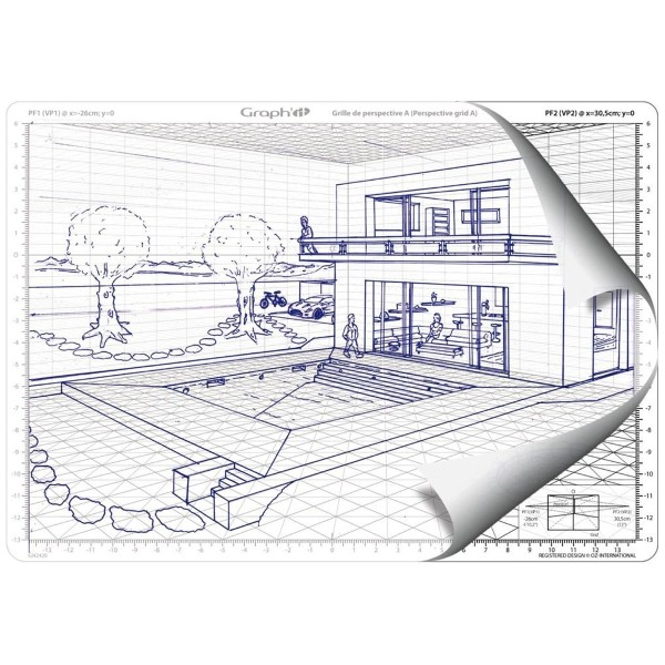 Grille de perspective Graph'it - Perspective frontale - 28 x 19 cm - Photo n°2