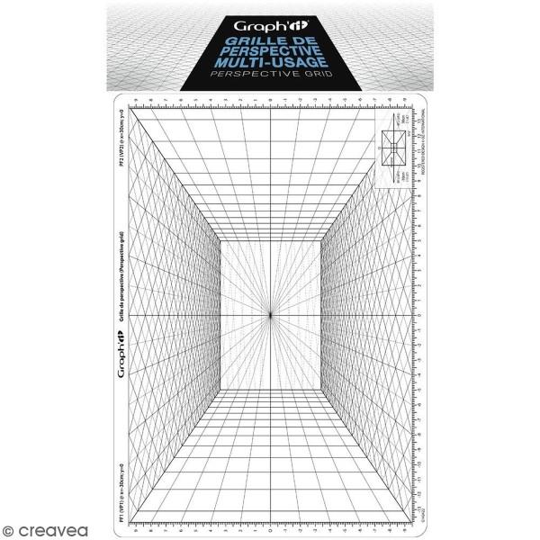 Grille de perspective Graph'it - Perspective frontale - 28 x 19 cm - Photo n°1