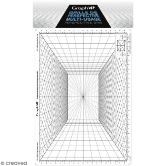 Grille de perspective Graph'it - Perspective frontale - 28 x 19 cm