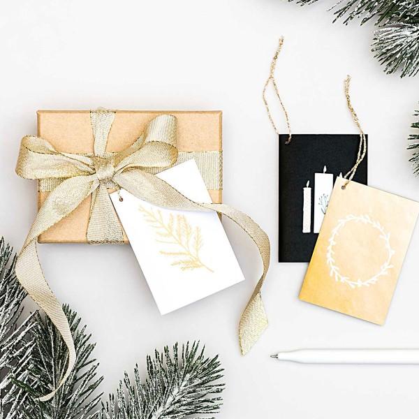Pendentifs cartes Nostalgic Christmas - Noir/Doré - 5,2 x 7,5 cm - 6 pcs - Photo n°3