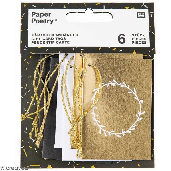 Pendentifs cartes Nostalgic Christmas - Noir/Doré - 5,2 x 7,5 cm - 6 pcs - Photo n°1