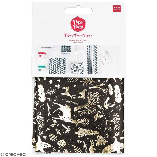 Paper Patch Nostalgic Christmas - Noir/Doré - 30 x 42 cm - 3 pcs - Photo n°1