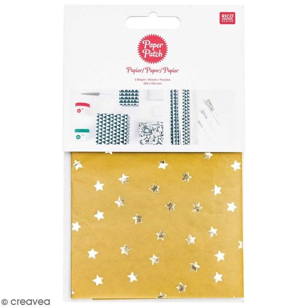 Paper Patch Nostalgic Christmas - Etoiles jaune moutarde - 30 x 42 cm - 3 pcs - Photo n°1