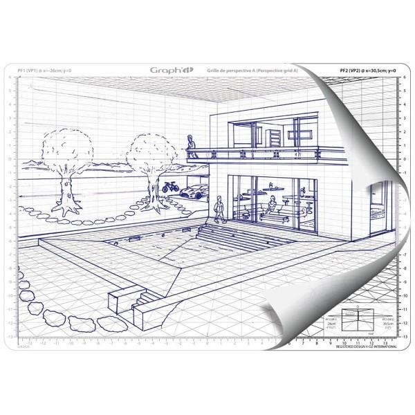Grille de perspective Graph'it - Cube oblique - 28 x 19 cm - Photo n°2