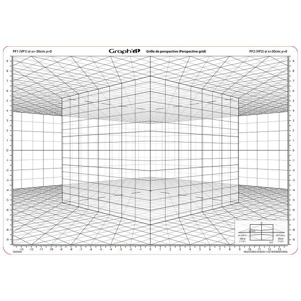 Grille de perspective Graph'it - Cube oblique - 28 x 19 cm - Photo n°3