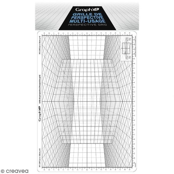 Grille de perspective Graph'it - Cube oblique - 28 x 19 cm - Photo n°1