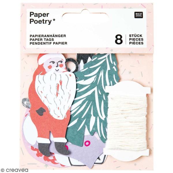 Pendentifs en papier Nostalgic Christmas - Pastel - de 4 à 8 cm - 8 pcs - Photo n°1