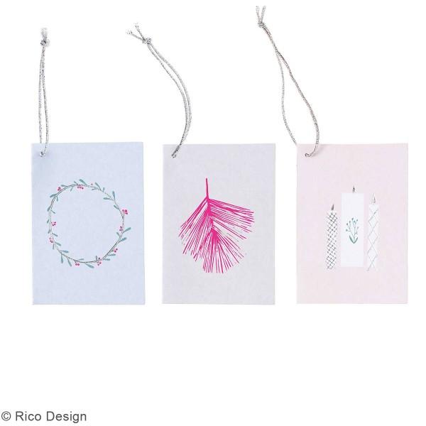 Pendentifs cartes Nostalgic Christmas - Pastel - 5,2 x 7,5 cm - 6 pcs - Photo n°2