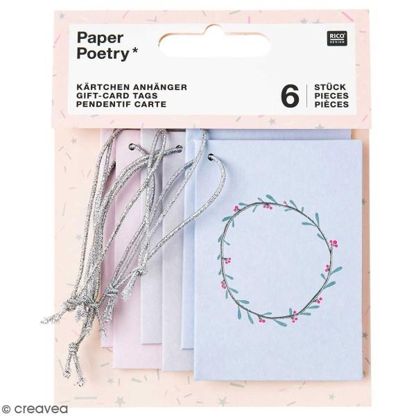 Pendentifs cartes Nostalgic Christmas - Pastel - 5,2 x 7,5 cm - 6 pcs - Photo n°1