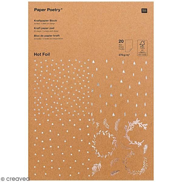 Bloc papier kraft Noël - A4 - 20 feuilles - Photo n°1