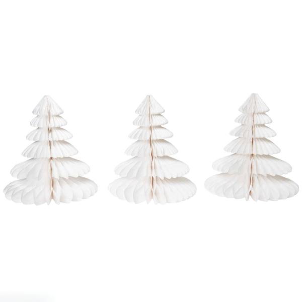 Décorations nid d'abeille Sapin - Blanc - 20 cm - 3 pcs - Photo n°1