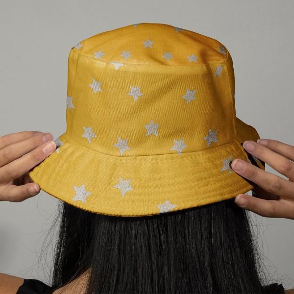 Tissu Rico - Etoiles argentées - Fond moutarde - Coton - Par 10 cm (sur mesure) - Photo n°2