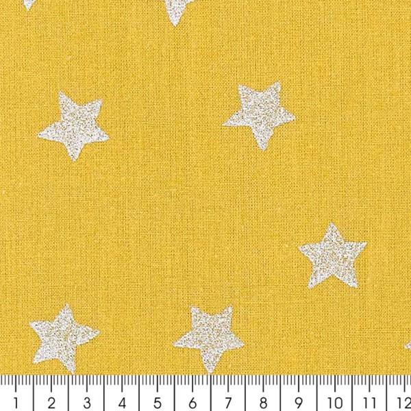 Tissu Rico - Etoiles argentées - Fond moutarde - Coton - Par 10 cm (sur mesure) - Photo n°3