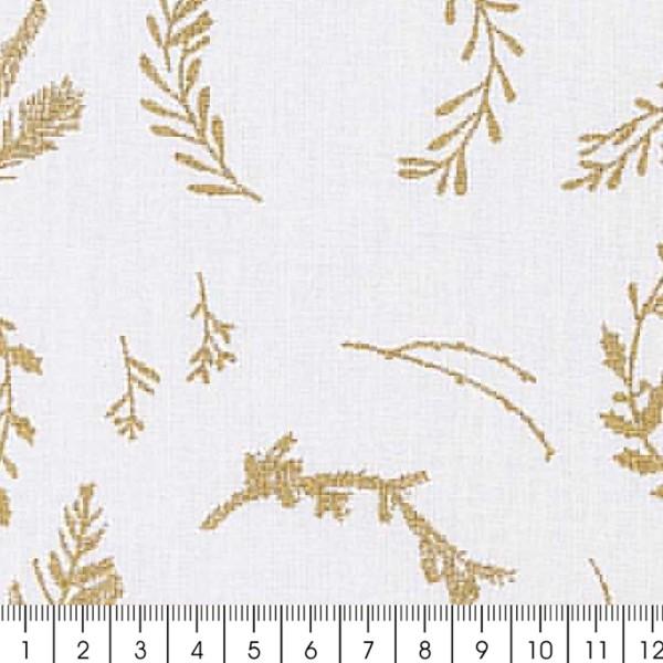 Tissu Rico - Couronnes dorées - Fond blanc - Coton - Par 10 cm (sur mesure) - Photo n°3