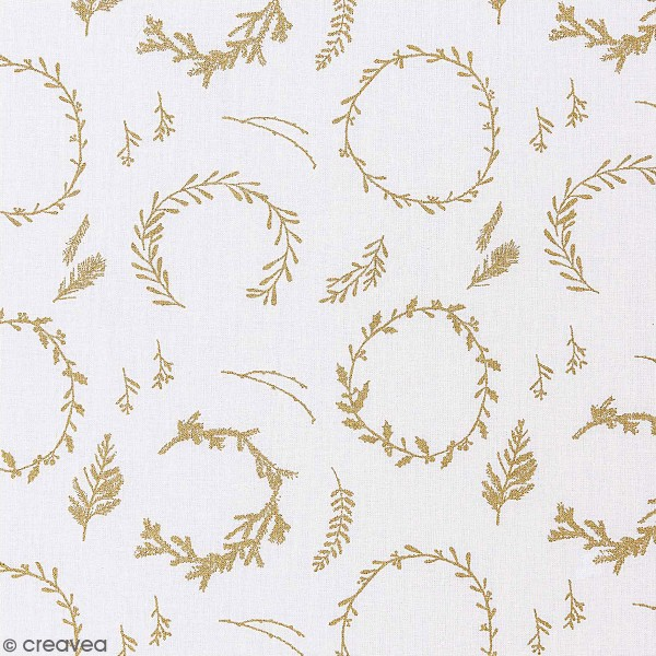 Tissu Rico - Couronnes dorées - Fond blanc - Coton - Par 10 cm (sur mesure) - Photo n°1