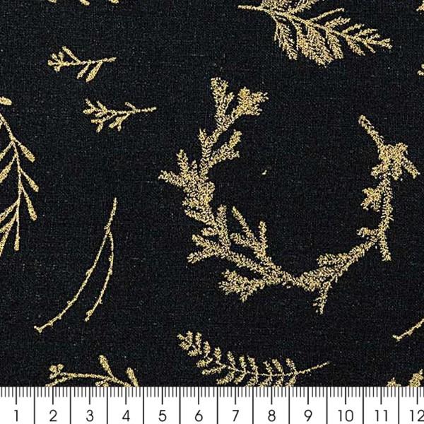Tissu Rico - Couronnes dorées - Fond noir - Coton - Par 10 cm (sur mesure) - Photo n°3