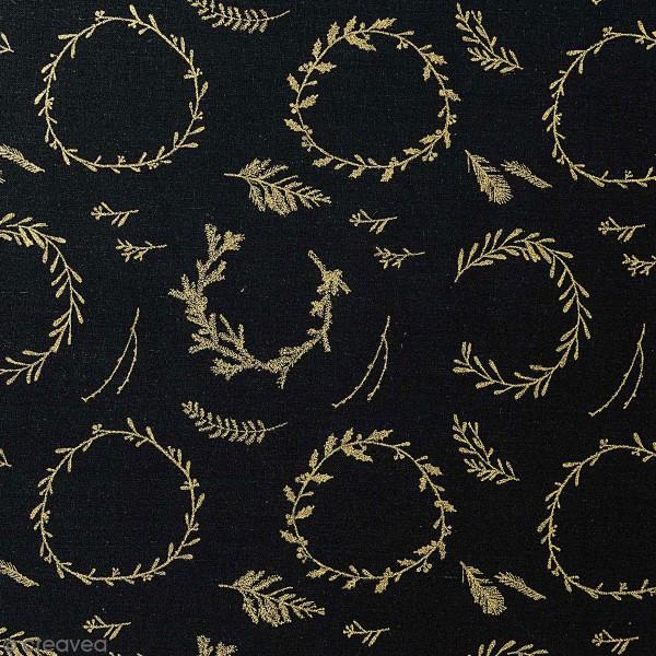 Tissu Rico - Couronnes dorées - Fond noir - Coton - Par 10 cm (sur mesure) - Photo n°1