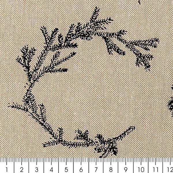 Tissu Rico - Couronnes noires - Fond naturel - Coton - Par 10 cm (sur mesure) - Photo n°3