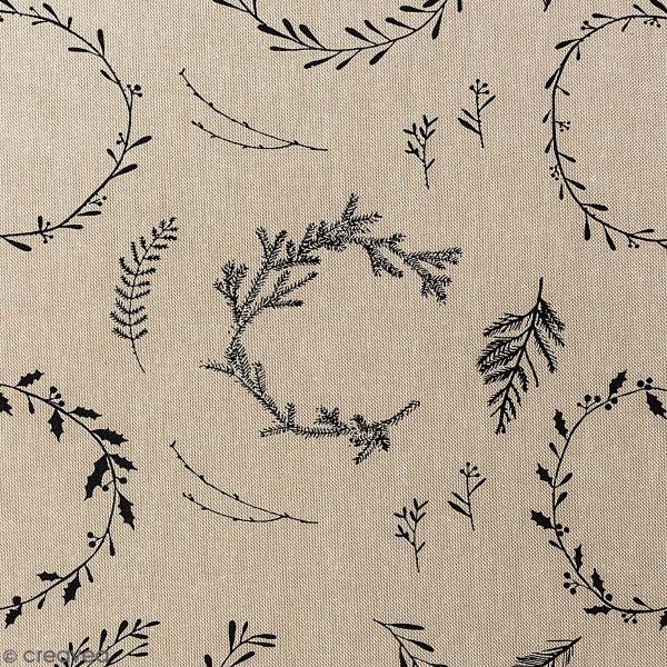 Tissu Rico - Couronnes noires - Fond naturel - Coton - Par 10 cm (sur mesure) - Photo n°1
