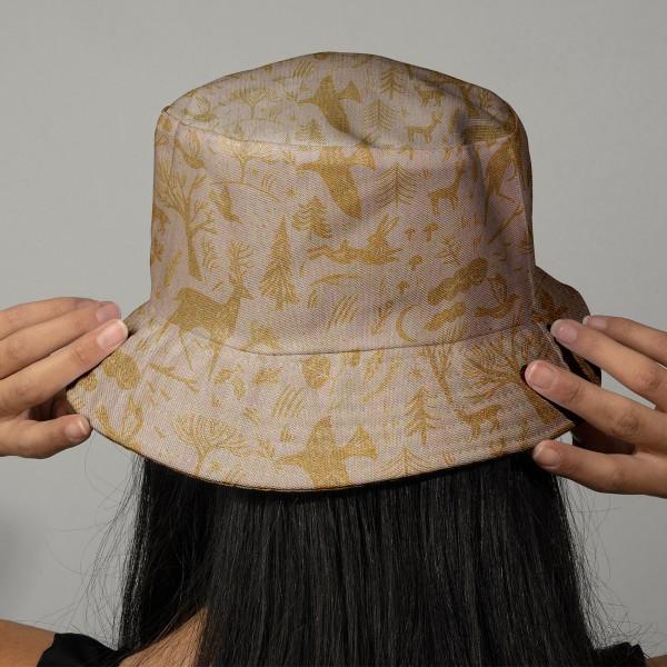 Tissu Rico - Forêt dorée - Fond naturel - Coton - Par 10 cm (sur mesure) - Photo n°2
