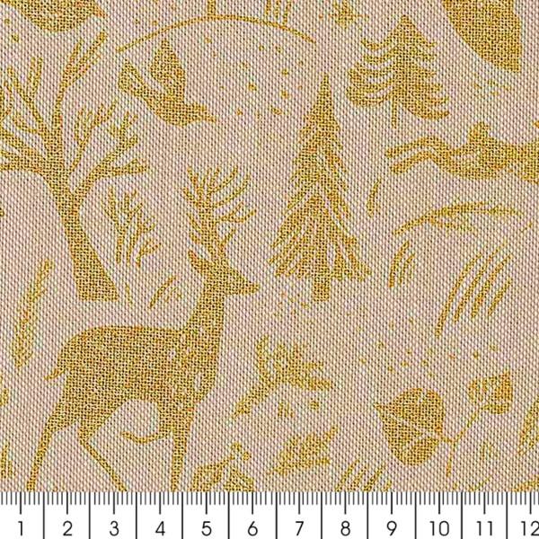 Tissu Rico - Forêt dorée - Fond naturel - Coton - Par 10 cm (sur mesure) - Photo n°3