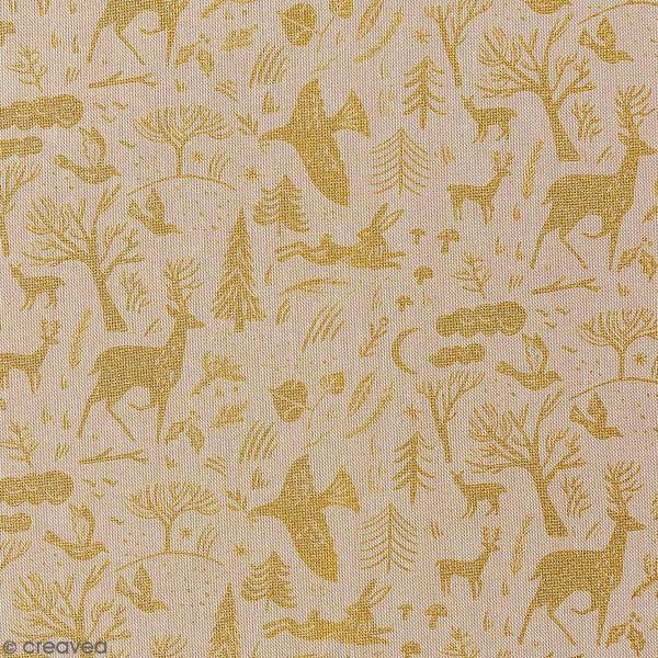 Tissu Rico - Forêt dorée - Fond naturel - Coton - Par 10 cm (sur mesure) - Photo n°1