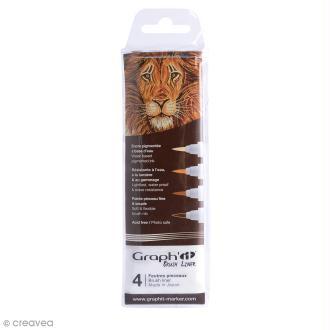 Pochette de 4 feutres pinceaux dégradés bruns - Graph'it Brush Liner