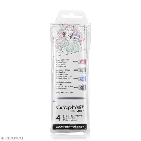 Pochette de 4 feutres fins basiques - Graph'it Fine Liner - Photo n°1