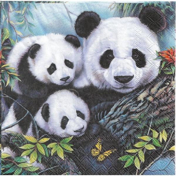 4 Serviettes en papier Maman Panda et ses bébés Format Lunch Decoupage Decopatch 13313160 Ambiente - Photo n°1