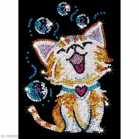 Sequin art junior chaton bubbles tableau 25 x 34 cm for Tableau en sequin