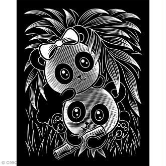 Carte à gratter Scraper Kawaii argentée - Pandas joueurs - 20 x 25 cm
