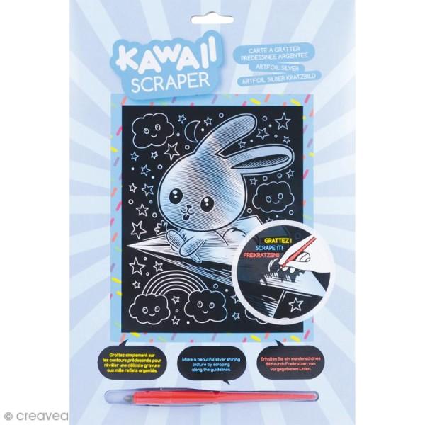 Carte à Gratter Scraper Kawaii Argentée Lapin Planneur 20 X 25 Cm