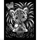 Carte à gratter Scraper Kawaii dorée - Tigre farceur - 20 x 25 cm