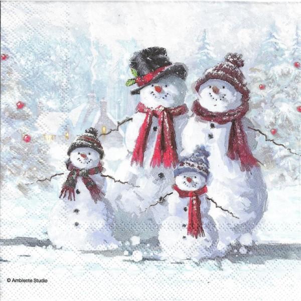 4 Serviettes en papier Famille de Neige Noël Format Lunch Decoupage Decopatch 33313435 Ambiente - Photo n°1