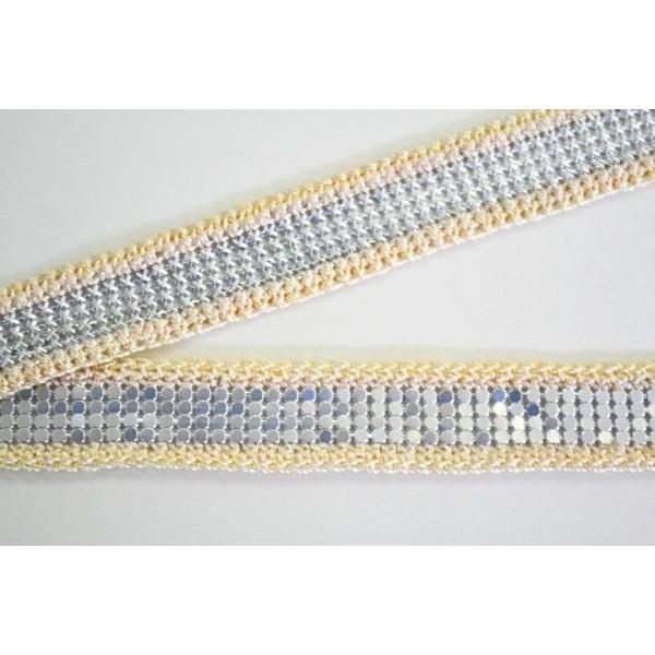 Galon coton sable, recto verso pastille ou chaîne métal argent 20mm - Photo n°1