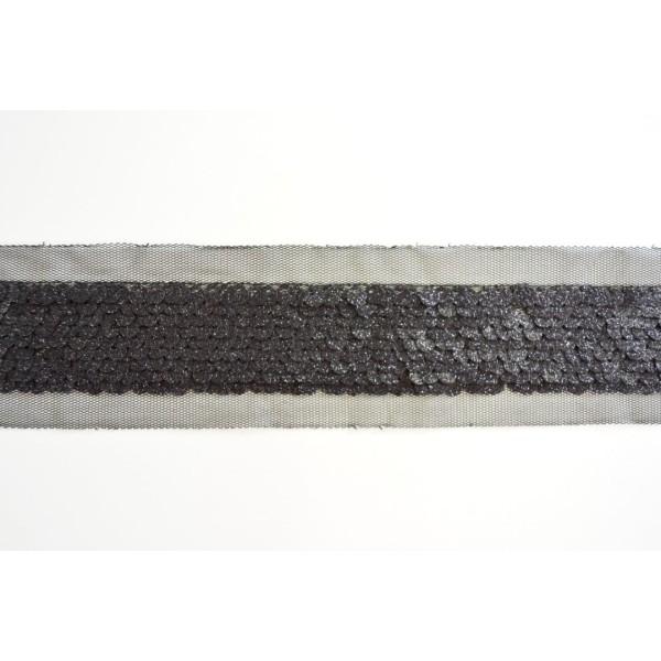 Galon sequins pailletés noir sur tulle 60mm - Photo n°1