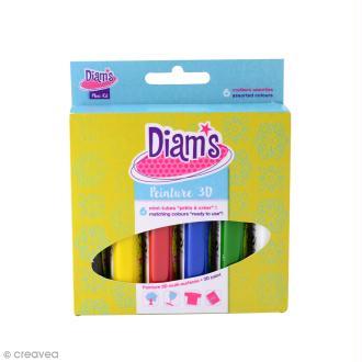 Kit peinture 3D Diam's Multi-surfaces - Basiques - 20 ml x 6